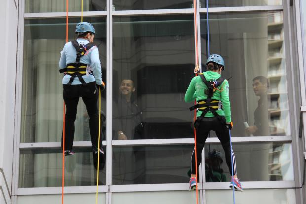 Seventy people repelled down theWit Hotel Sunday to raise money for the Respiratory Health Association.