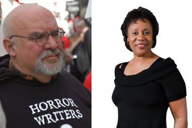 American film director Stuart Gordon, founder of the Organic Theater, and playwright Jackie Taylor, founder of the Black Ensemble Theater.