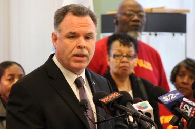 Police Supt. Garry McCarthy talks gun control at a news conference Monday. (May 13, 2013)