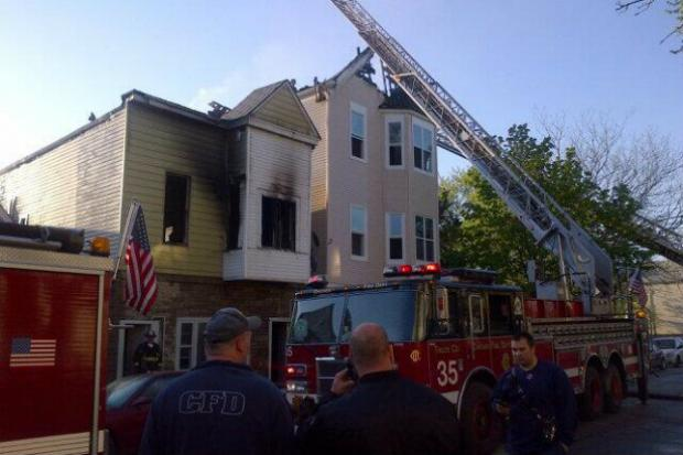 Firefighters fought a blaze in a West Side home Wednesday morning.