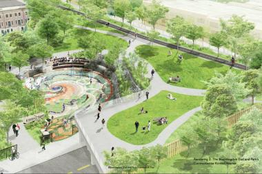 Rendering of the Bloomingdale Trail with the park's connection to Kimball Avenue.