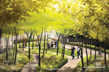 A rendering of the park at Kimball Avenue along The 606.
