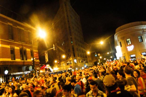 People flocked to the streets all over Chicago Monday to celebrate the Blackhawks victory over the Boston Bruins and their second Stanley cup in the last four seasons.  Here's a few highlights from Wicker Park.