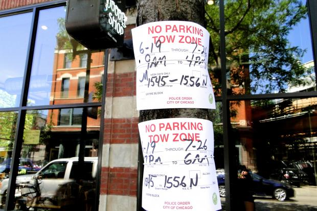 A busy stretch of Damen Avenue from 1545- 1556 N. Damen Ave. in the heart of Wicker Park will have a no parking restriction from June 19 - July 26, according to signs posted in front of area businesses.