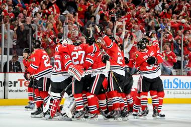 The Chicago Blackhawks celebrate after defeating the Los Angeles Kings and taking the Western Conference title in Game 5 of the Western Conference Final during the 2013 Stanley Cup Playoffs at the United Center on June 08, 2013 in Chicago.