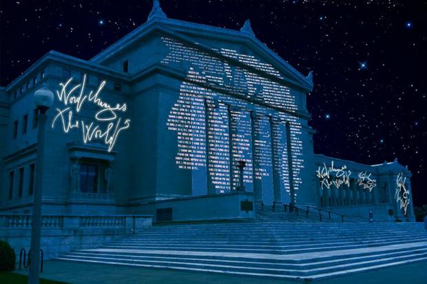 Italian artist Marco Nereo Rotelli's Field Museum installation focuses on light and poetry.