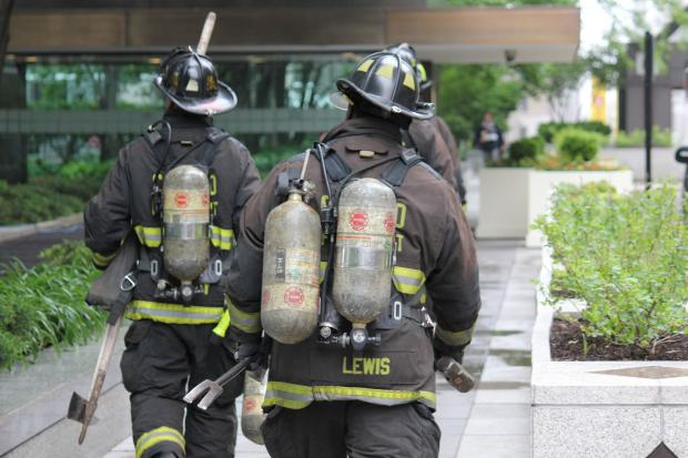 The Chicago Fire Department conducted emergency drills Sunday at the Aon Center, 200 E. Randolph St.