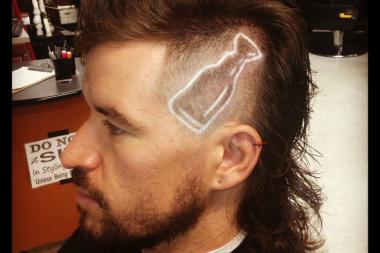 George Hillier sports a new mullet design, complete with a Stanley Cup shaved on the left side of his head.