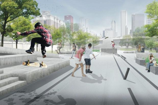 Plans for a skate park in Grant Park near the Museum Campus.