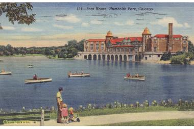 "This circa 1940s postcard shows the fieldhouse, referring to it as the boat house. The description on the back reads: ""Boat landing, refectory, and recreation center in Humboldt Park on Chicago's great Northwest Side. The lagoon here offers opportunity for a quiet and delightful row boat ride along tree-lined shores in one of the most beautiful spots in the Chicago Park District."""