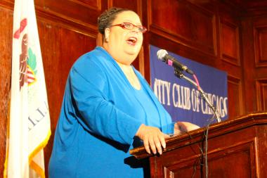 CTU President Karen Lewis blames economic inequity for education problems before the City Club of Chicago Tuesday.