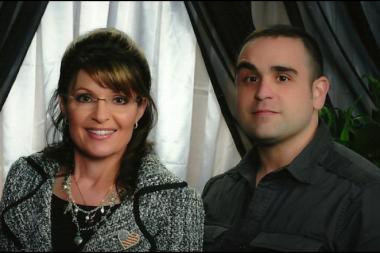"Conservative gay blogger Kevin DuJan is shown with former Alaska Gov. Sarah Palin. In 2010, DuJan told CBS News that he would ""go all in for her"" if she ran in the 2012 presidential election."
