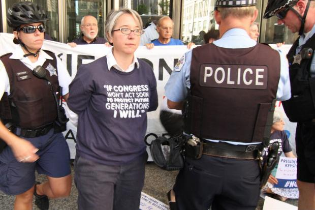 Some 22 people were arrested for blocking the doors to the Metcalfe Federal Building, 77 W. Jackson Blvd. Monday in a protest over the Keystone XL pipeline.
