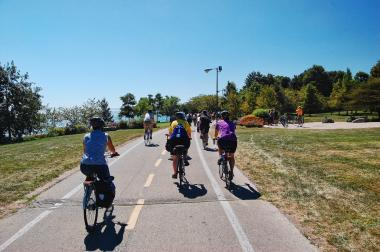 The lakefront trail will soon have two distinct paths for walkers and bikers, with work on the project beginning on the South Side Sunday, the city said.