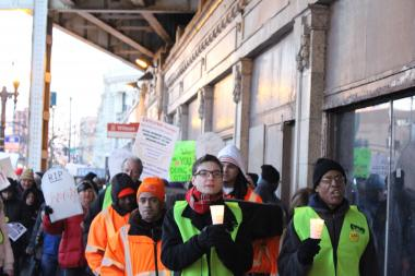 Activists affiliated with LAC and ONE march with North Side residents in a March protest against Ald. James Cappleman (46th).