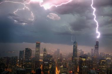 Lightning strikes the Willis Tower in June. A strong storm rolled through Chicago Wednesday evening. (File Photo)