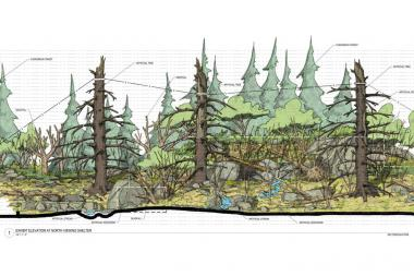 A rendering of the 7,300 square foot Regenstein Macaque Forest.