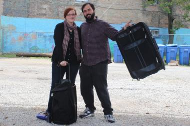 Theresa McMullen and Nick Harvey pose with the kind of suitcases they hope people will donate to foster children. They are holding a suitcase drive from 10 a.m. to 1 p.m. Sunday in empty lot next to Family Dollar, 2260 N. Milwaukee Ave.