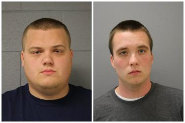 Marvin W. Buhle, 24, (l.) and Michael Haas, 20, of the Merrionette Park Fire Department, were charged with criminal sexual abuse with force and attempted criminal sexual assault with force.