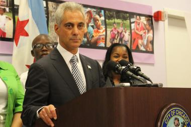 "Mayor Rahm Emanuel blamed school budget cuts on politicians who deferred tough choices on pension payments and ""kicking them down the can."""