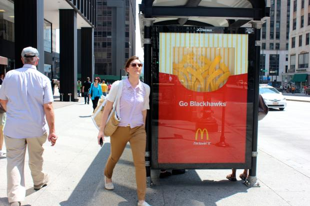 Ads from McDonald's cheering on the Blackhawks popped up in the Loop Monday.