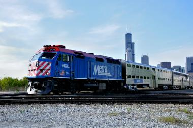 A 30-year-old man was injured Friday when a Metra train hit his car, officials said. (File photo).