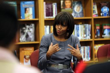 First lady Michelle Obama visits Harper High School in Englewood to talk with students about violence on April 10.