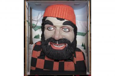 "A reproduction of the Paul Bunyan head that used to grace the ""World of Hardwoods"" exhibit from 1953-86 will be on display at the Museum of Science and Industry."