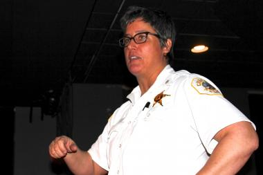 "Near West Police Cmdr. Melissa Staples told a group of residents that as a resident of the district, she ""has the same concerns you do."""
