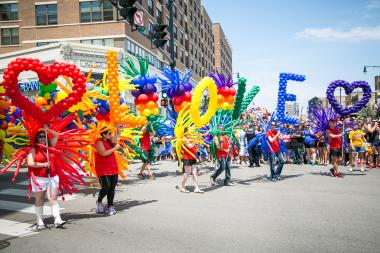 "Balloons spell out ""LOVE"" as thousands celebrate gay pride in Lakeview earlier this year.  Fourteen people and two organizations will be inducted into the Chicago Gay and Lesbian Hall of Fame in November."