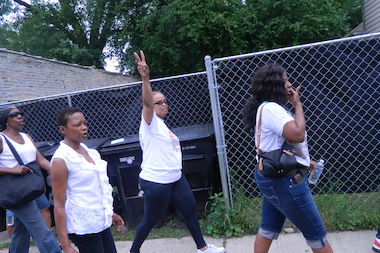 Members of New Beginnings Church march against violence in Woodlawn last year.