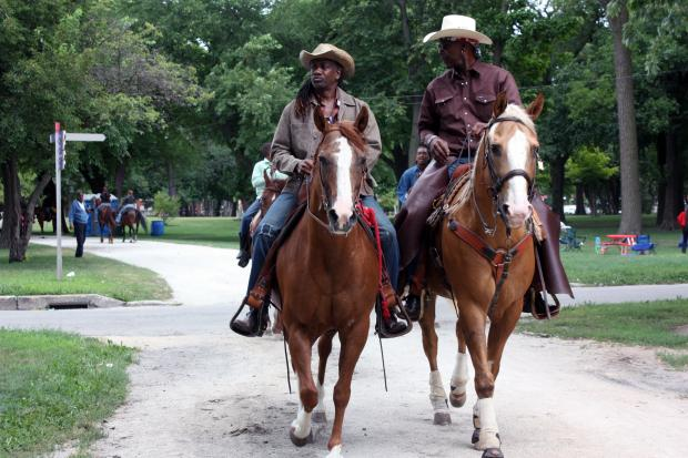 "Self-proclaimed ""black cowboys"" saddled up in Washington Park Saturday July 27 for the 24th Anniversary Broken Arrow Horseback Riding Club Highnoon Ride & Picnic."