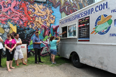 The Tamale Spaceship food truck turned out Sunday to provide free food and drinks for a mural unveiling.