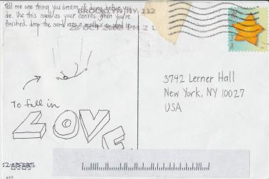 A postcard from artist Jenny Lam's New York City of Dreams project.