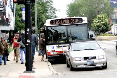 Passengers board the CTA Ashland No. 9 bus at North Avenue in Bucktown.