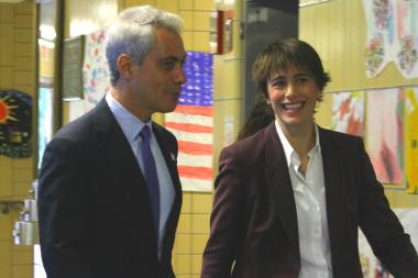 Ald. Deb Mell is seen here with Mayor Rahm Emanuel in this file photo.