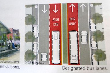 A rendering of dedicated bus-only lanes planned for Ashland Avenue between 31st Place and Cortland Avenue.