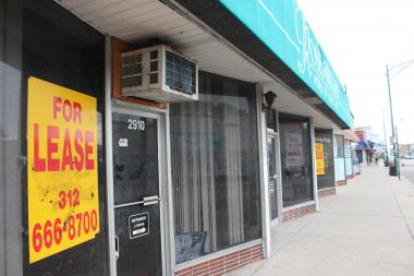 Dozens of storefronts west of California Avenue on Devon Avenue have remained empty for years.