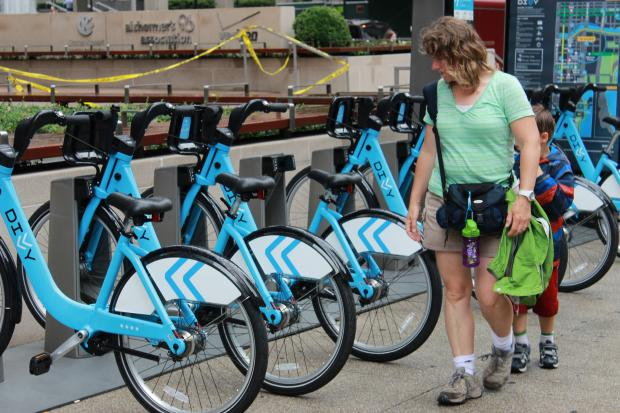 Divvy bikes in Chicago.