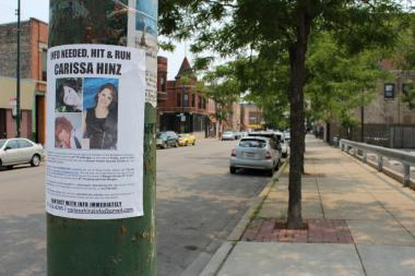 A flier posted along Morgan Street in Bridgeport asks witnesses to come forward with information on the hit-and-run that claimed the life a Bridgeport artist.