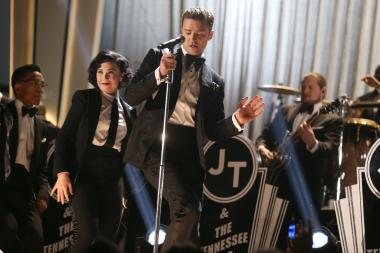 Justin Timberlake performs during the 55th annual Grammy Awards.
