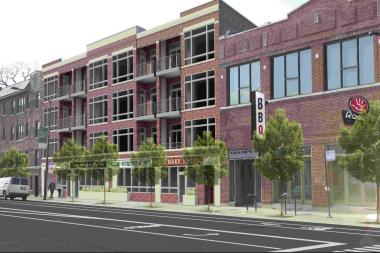 A rendering of the proposed apartment complex and adjacent Roots Pizza on Lawrence Avenue.