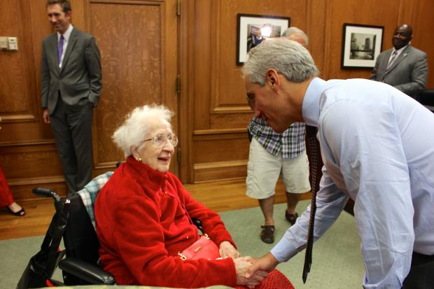 Passages Hospice helped grant Maude Harlow her lifelong wish Friday. And she'll meet Rahm Emanuel.
