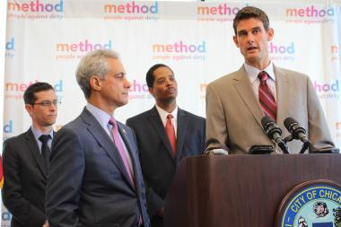 State official Adam Pollet, Mayor Rahm Emanuel and Ald. Anthony Beale listen to Method's Chief Greenskeeper Adam Lowry discuss the reasons for setting up shop in Pullman.