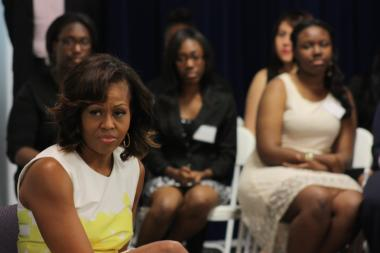 The first lady spoke to a group of graduated high school students who participated in the Urban Alliance Chicago internship program during the 2012-2013 school year.