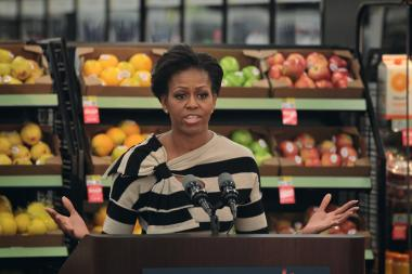 Michelle Obama, seen in this file photo, recalled her childhood eating habits in a speech Tuesday in New Orleans.