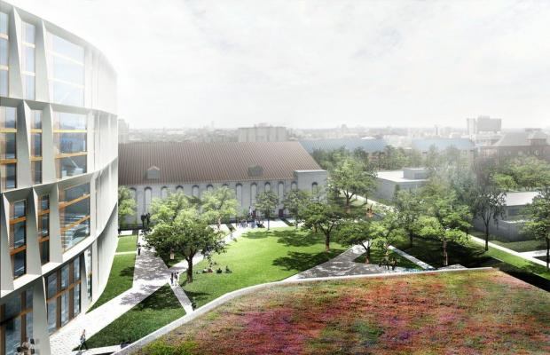 Designs for a new dorm on the University of Chicago campus