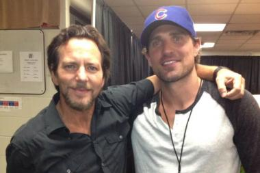 "Patrick Sharp met with Eddie Vedder before Pearl Jam's show Friday at Wrigley Field. Sharp called Vedder ""a hero of mine"" during a TV interview earlier this year."