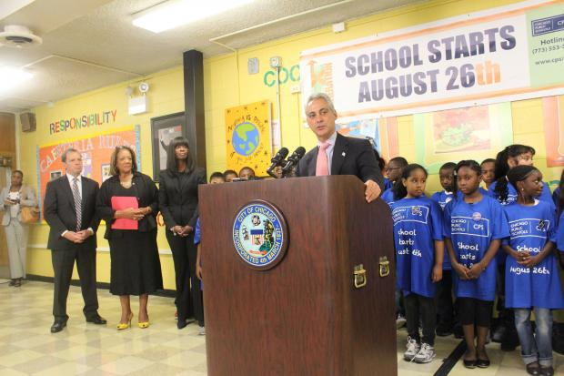 "Starting the 2013-2014 school year off on ""the right foot"" was the theme of a press conference Wednesday at  Joseph Brennemann Elementary School  in Uptown, where  Mayor Rahm Emanuel  and Chicago Public Schools CEO  Barbara Byrd-Bennett  kicked off their back-to-school campaign."