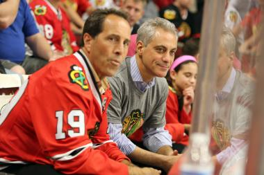 Mayor Rahm Emanuel had front row seats to Game 1 of the 2013 Stanley Cup Finals, held at the United Center June 12.